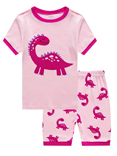 KikizYe Dinosaur Girls Shorts 2 Piece Pajama Set 100% Cotton Pink 12