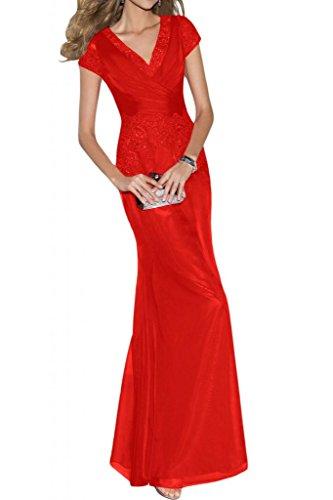 Toskana novia Chic V de corte gasa con punta noche de ensueño para ropa largo Party Ball novia Rojo