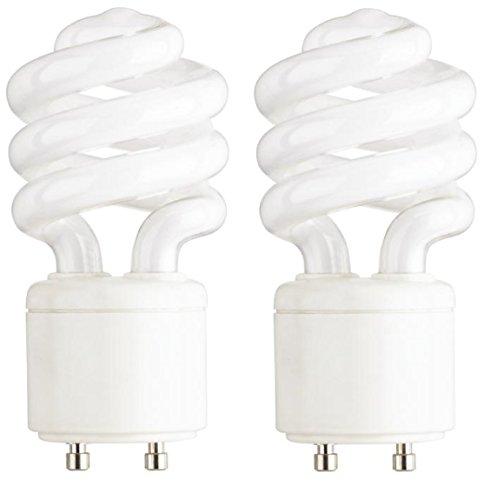 Base 2700k 10000 Hour Spiral (Mini Spiral Compact Fluorescent Bulb 2700K GU24 base 120 volts 13 watt (2-Pack))