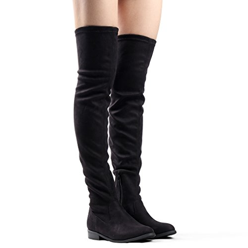 Women's Boot Thigh Pull Block Sexy Bella High The Over Heel Knee Stretch on Black Boots Irwqa4rZ