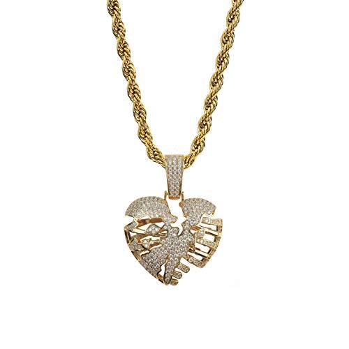 TOPGRILLZ Simualted Diamond CZ Hollow Skeleton Broken Heart Pendant Necklace Chain for Men Hip Hop Jewelry (Gold)