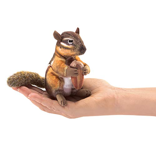 (Folkmanis 2771 Mini Chipmunk with Acorn Finger Puppet, One Size,)