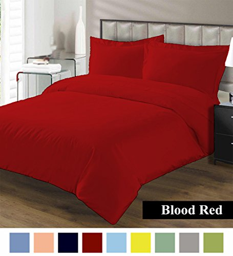 Premium Duvet Cover with Zipper Closer 100% Egyptian Cotton 600 Thread Count Luxurious, Durable and Hypoallergenic Ultra Soft Breathable By Kotton Culture ( California King/King, Blood Red - Indie Gifts