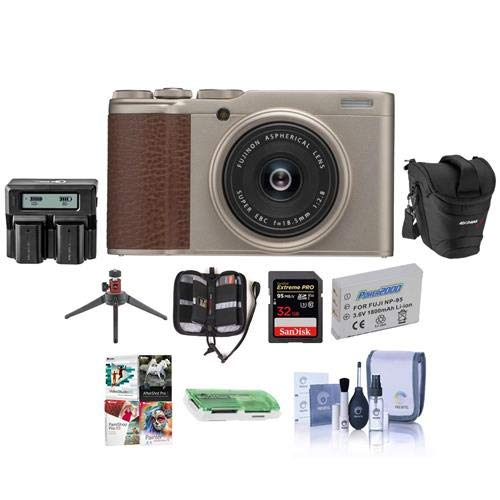 Fujifilm X-F10 Digital Camera with 18.5mm Wide Angle Lens, Champagne Gold - Bundle with 32GB SDHC U3 Card, Holster Case, Spare Battery, Dual Charger, Table Top Mini Tripod, Software Package, and More