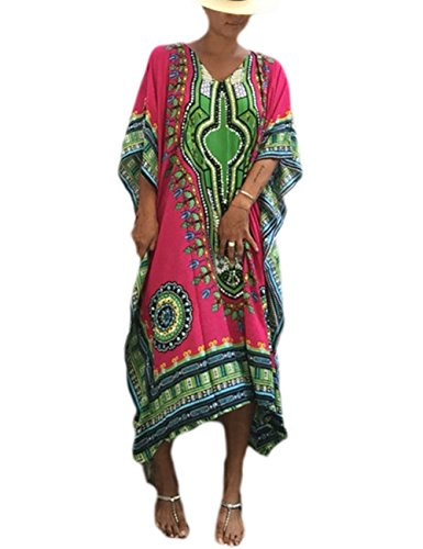 Bsubseach Women Rose Ethnic Print Kaftan Maxi Dress Half Sleeve Open Side Beach Dress Long Cover (Rose Caftan)