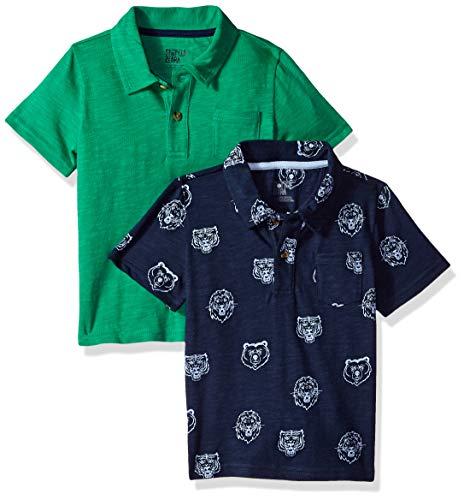 Amazon Brand - Spotted Zebra Boys' Big Kid 2-Pack Slub Jersey Short-Sleeve Polo Shirts, Mascot, Large (10) (Slub Jersey Polo)