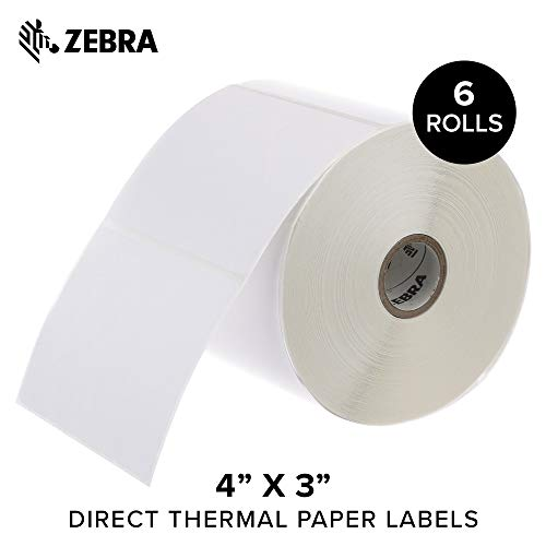 Zebra - 4 x 3 in Direct Thermal Paper Labels, Z-Perform 2000D Permanent Adhesive Shipping Labels, Zebra Desktop Printer Compatible, 1 in Core - 6 Rolls ()