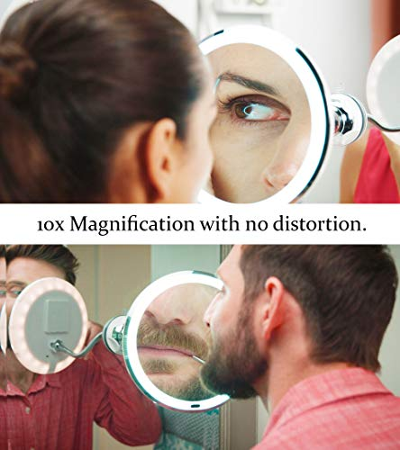 MY FLEXIBLE MIRROR 10x Magnification 7 Make Up Round Vanity Mirror for Home, Bathroom use with super strong suction cups As Seen On TV