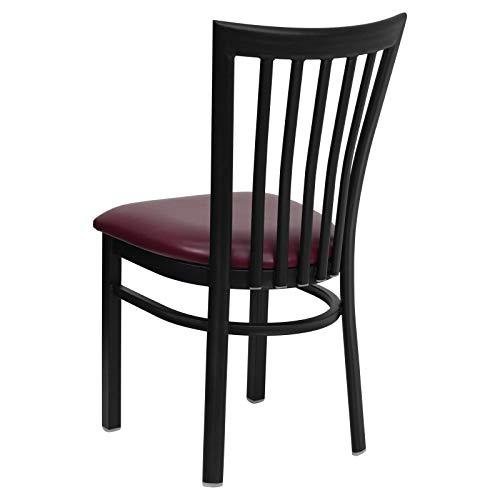 Flash Furniture HERCULES Series Black School House Back Metal Restaurant Chair - Burgundy Vinyl Seat