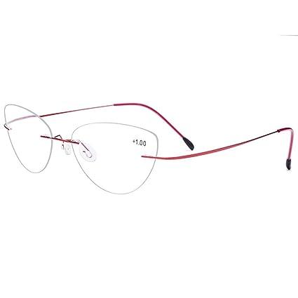 f6923c1c981 Amazon.com  Accessories 22 Frameless Cat Eye Reading Glasses Ladies ...