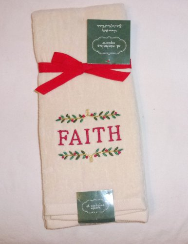 St. Nicholas Square Decorative Winter Holly Embroidered FAITH Set of 2 Hand Towels by St. Nicholas Square