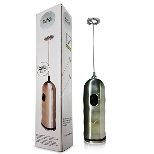 Handheld Electric Milk Frother, Stainless Steel