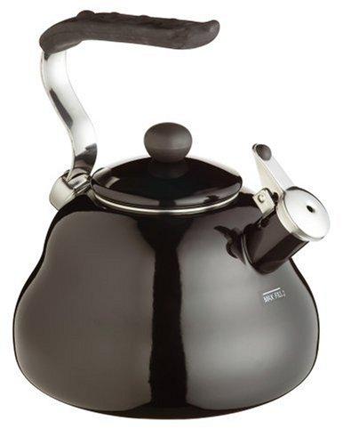 Kitchencraft Enamelled Whistling Kettle for Hob Induction 2 Litre / 67 fl oz, Black