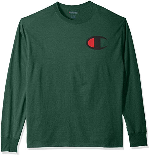 Champion Men's Classic Jersey Long Sleeve Graphic T-Shirt, Dark Green/Big c Logo, Small ()