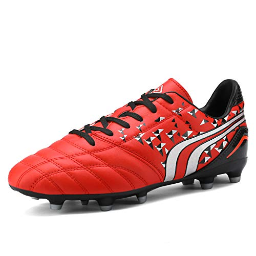 DREAM PAIRS Men's 160860-M Red Black Grey Cleats Football Soccer Shoes - 9.5 M US