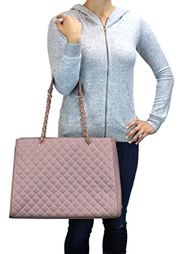 (Women's Large Travel Tote Quilted Purse and Work Laptop Handbag - Rose Gold Hardware With Satin Interior - Mauve)