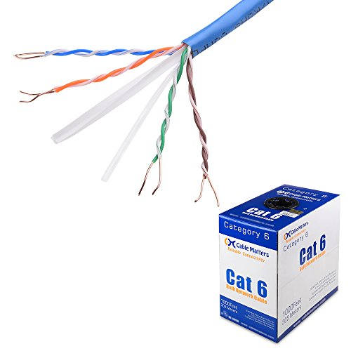 [UL Listed] Cable Matters In-Wall Rated (CM) Bare Copper Cat 6 / Cat6 Bulk Cable (Cat6 Ethernet Cable 1000 Feet) in Blue