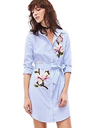Floerns Women's Vertical Striped Embroidered Floral Shirt Dress Blue and White XS
