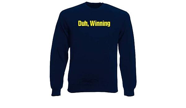 T-Shirtshock Sudadera por Hombre Azul Navy FUN0978 Charlie Sheen DUH Winning T Shirt: Amazon.es: Ropa y accesorios