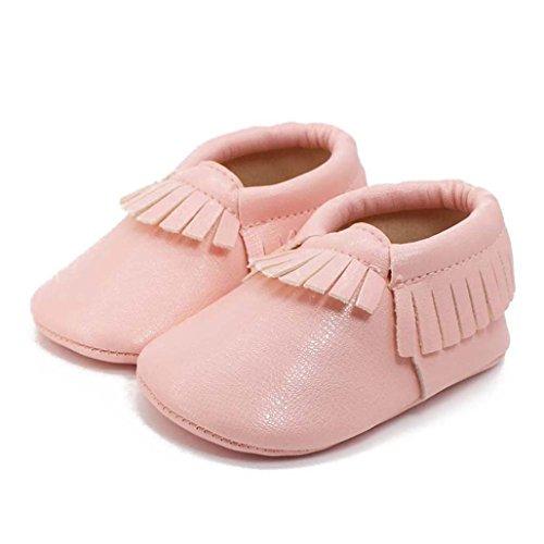 Tefamore zapatos bebé embroma de cuero suaves de suavidad de borla infantiles del niño de la muchacha del muchacho Rosado