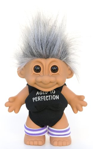 Salt /& Pepper Hair Russ Berrie My Lucky Aged to Perfection Workout Troll Doll ~ LARGE 8.5 Tall