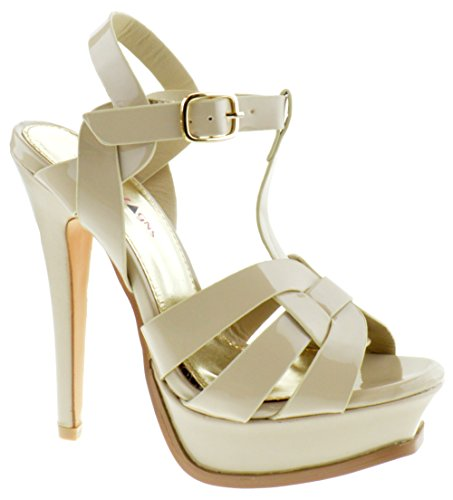 Shoe Dezigns Lauren 87 Womens Strappy Square Toe Patent Platform Natural Beige Patent 8 - Patent Gladiator Shoes