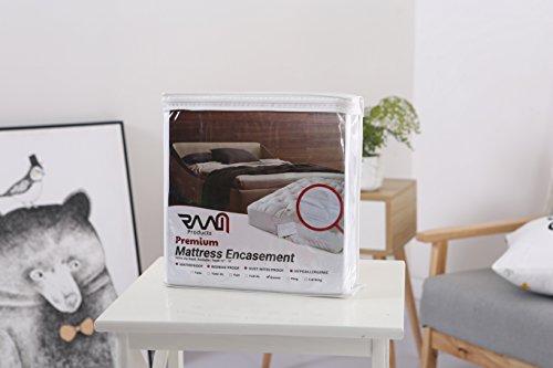 RAAM Premium Mattress Encasement – Hypoallergenic, Waterproof, Stain Proof, Bed Bug Proof, Dust Mites Proof, Vinyl Free, Absorbent, Soft & Noiseless (Fits 12″ – 15″ in H) – Queen Size