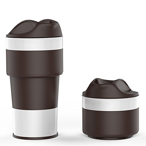Jerrybox CC-01 Collapsible Silicone Coffee Cup, BPA-free, Foldable Silica Coffee Mug, 13.5OZ Gift Cups (Coffee)