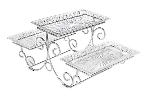 James Scott Crystal 3-Tier Rectangle Server in a beautiful gift box (Tiered Server) ()