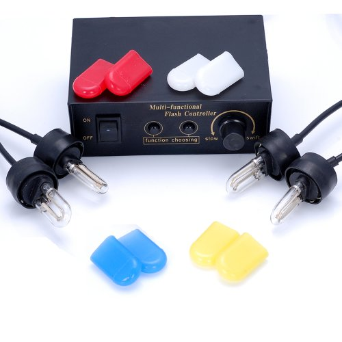 4 pcs Flashing Modes 12V 5W Flash Strobe U tube Light Bulb Headlight + Red Blue White Yellow Case Caps For Honda Toyota Nissan Suzuki Mazda VW Kia