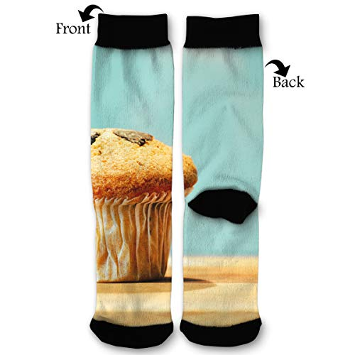 Tasty Muffin Food Wooden Table Men & Women Casual Cool Cute Crazy Funny Athletic Sport Colorful Fancy Novelty Graphic Crew Tube Socks for $<!--$4.99-->