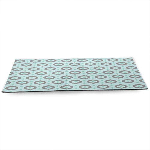 (WinfreyDecor Seafoam Fitness Yoga Mat Ikat Style Motifs Circular Pattern with Dots Ethnic Inspiration Tribal Sized Right for Your Fitness W24 x L70 Seafoam Sea Green Taupe)