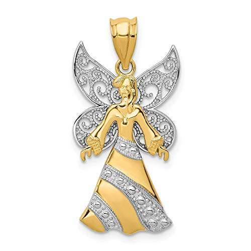 14k Yellow White Gold Angel Pendant Charm Necklace Religious Fine Jewelry Gifts For Women For Her