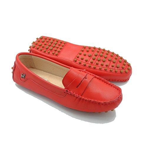 Miyoopark Kvinners Stripe Rød Skinn Tilfeldige Loafers Flats Mokasiner