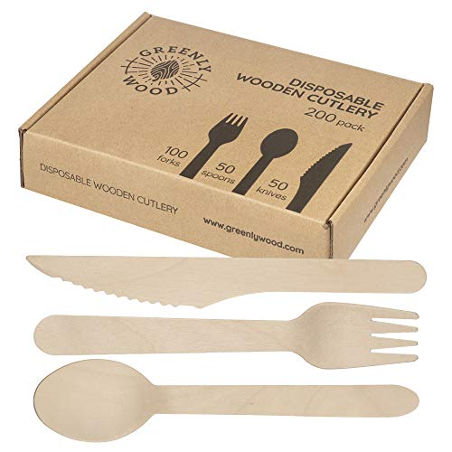 Wood Appetizer Set - Greenly Wood 200 Pack Disposable Wooden Utensils Set | All Natural Birchwood Biodegradable Compostable Cutlery (100 Forks, 50 Spoons, 50 Knives)