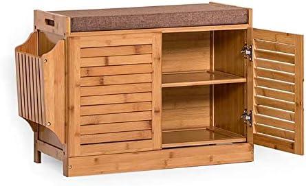 シューラック、2層の竹の靴のキャビネット、シートクッション付きのモダンな靴のベンチ、リビングルームのエントランスホール収納キャビネット、大容量の収納スペース ++