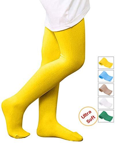 Kids Girls Winter Warm School Uniforms Leggings Semi Opaque Basic Elastic Full Length Dance Stretchy Footed Tights Yellow L -