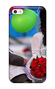 Iphone Case - Tpu Case Protective For Iphone 5/5s- Korean Guy With Flowers And Girl With Balloons by icecream design
