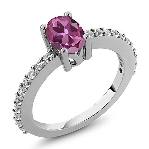 Pink Sapphire Tourmaline Ring - 1.15 Ct Oval Pink Tourmaline and White Created Sapphire 925 Sterling Silver Ring (Size 8)