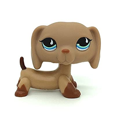 Littlest Pet Shop LPS Tan Dachshund Dog Blue DOT Eyes Loose Figure Child #1211: Toys & Games