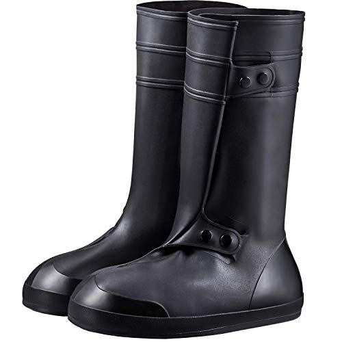 USHTH Waterproof Rain Boot Shoe Cover The Reusable Slip-Resistant Overshoes with Excellent Elasticity and Foldable (High-Black-S)