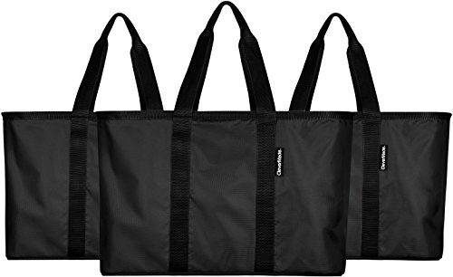 CleverMade SnapBasket 30 Liter Reusable Tote Bag with Reinforced Bottom: Collapsible Grocery Shopping Basket, Black/Black, 3 Pack