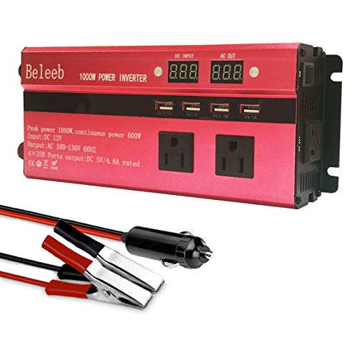 Beleeb 1000W Car Power Inverter DC 12V to 110V 3 AC Outlets Home Car RV Solar Power Converter for Household Appliances in case Emergency, Hurricane, Storm and ()