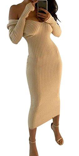 Shoulder Long Sleeve Cromoncent Sexy Bodycon Beige Dress Nightclub Women Midi Off V Neck FqSwXZ