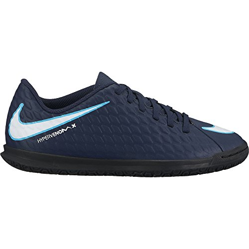NIKE Kids Jr. Hypervenomx Phade III (IC) Indoor Soccer Shoe Obsidian/White/Gamma Blue/Glacier Blue Size 1 M (Glacier Systems Jacket)