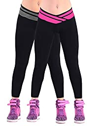 iLoveSIA 2PACKs Women\'s Tights Capri Ankle Workout Legging Rose Red+ Grey US Size XL