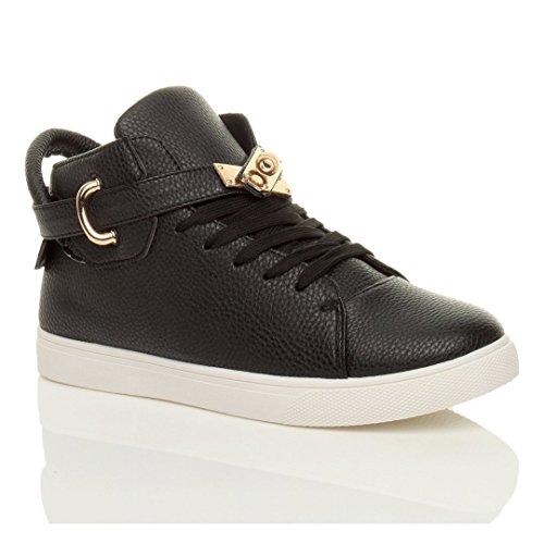 Damen Flach Schnüren Gold-Gürtel Spange High-Top Sneaker Stiefeletten Größe Schwarz / Weiß Sohle
