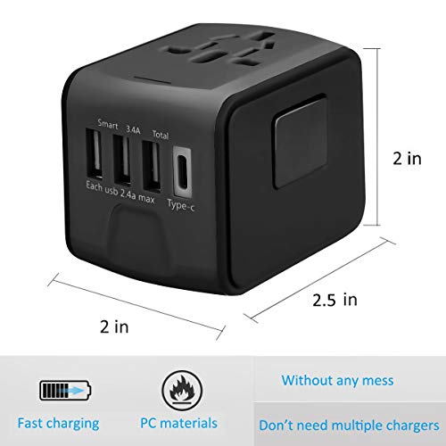 Travel Adapter, HAOZI Universal Travel Adapter - 3 USB + 1 Type C in One Travel Charger with UK/US/AUS/EU Plugs and Socket, International Power Adapter Wall Charger (Black)