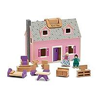"Mini casa de muñecas Melissa & Doug Fold & Go (Casa de muñecas portátil de madera, puertas de trabajo, asas de transporte robustas, 10.4 ""H × 11.9"" W × 16.7 ""L)"