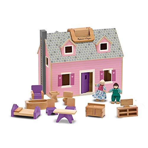"Melissa & Doug Fold & Go Mini Dollhouse (Portable Wooden Dollhouse, Working Doors, Sturdy Carrying Handles, 10.4"" H × 11.9"" W × 16.7"" L) ()"